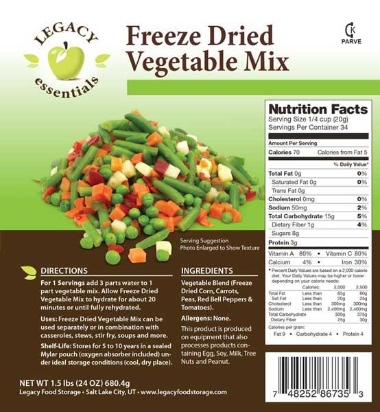 Freeze Dried Vegetable Mix  sc 1 st  Patriot Prepared & Freeze Dried Vegetable Mix - Patriot Prepared